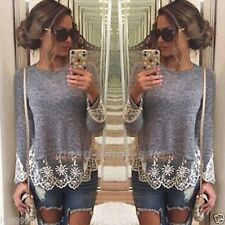 Fashion Sexy Women Summer Vest Top Long Sleeve Blouse Casual Tank Tops Lace