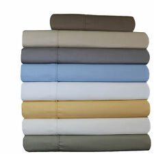 650TC Solid Twin Size Sheet Set Cotton Blend Wrinkle Free