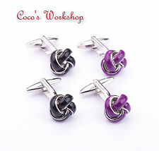 STAINLESS STEEL BASE GLOSSY BLACK PURPLE ENAMEL KNOT MENS CUFFLINKS GIFT BAG