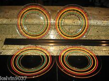 VINTAGE SET OF 4 COLOR STRIPED SALAD OF LUNCHEON PLATES- VERY NICE - UNMARKED
