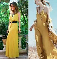 NWT ZARA Long Maxi Double Strap Jumpsuits Rompers Yellow Mustard Size XS S M