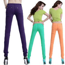Trendy Casual Women Candy Slim Skinny Jeans Trousers Stretch Pencil Pants M64