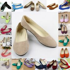 Womens Ballet Flats Ballerina Slippers Casual Slip On Shoes Ladies Faux Leather