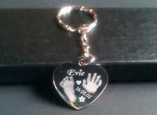 Handprint / Footprint Engraved Charm/Pendant Heart Keyring fingerprint jewellery