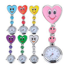 Hot Smile Face Heart Clip-on Nurse Doctor Brooch Pendant Fob Pocket Quartz Watch