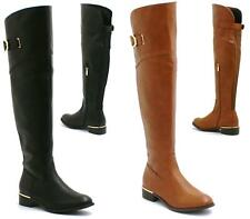 WOMENS LADIES WIDE LEG KNEE HIGH BLOCK HEEL FLAT RIDING BOOTS STRETCH SHOE