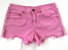 EUC Free People LADIES 27 JEAN DENIM Shorts PANTS Distressed Cut Offs Pink