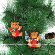 2x Lovely Teddy Bear Christmas Tree Hanging Xmas Ornament Decoration Home Decor