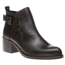 New Womens SOLE Black Franci Leather Boots Ankle Buckle