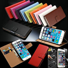 Genuine Real Leather Flip Wallet Case Cover For iPhone 6s + HD Tempered Glass