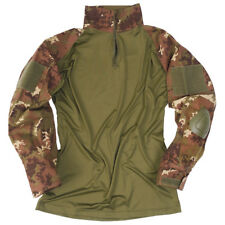 Tactical Warrior Mens Shirt + Elbow Pads Airsoft Italian Vegetato Woodland Camo
