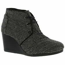 Toms Desert Wedge Womens Black Wedge Lace Up Ankle Boots