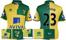 *15 / 16 - ERREA ; NORWICH CITY HOME SHIRT SS + PATCHES / OLSSON 23 = SIZE*
