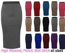 New Womens Plain Bodycon Pencil High Waisted Ladies Stretch Midi Skirt 6-24 LgMd