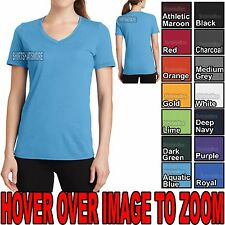 Womens Moisture Wicking V-Neck Athletic T-Shirt Soft Poly/Cotton Tee S-4XL NEW!