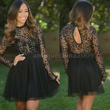Fashion Women's Floral Lace Long Sleeve Cocktail Evening Party Casual Mini Dress