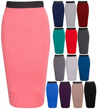 Womens New Pencil Stretch Tube Wiggle Ladies Fit Bodycon Plain Office Midi Skirt