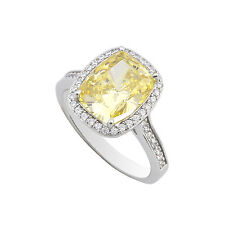 Sterling Silver Canary Yellow Cushion Cut Cubic Zirconia Ring