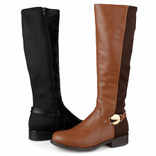 Brinley Co. Womens Wide Calf Tall Round Toe Riding Boots