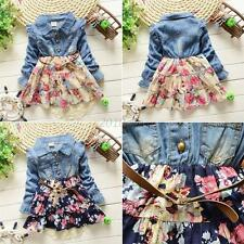 Kids Girls Toddlers Buttons Demin Baby Tops Shirts Flower TUTU Jeans Dresses C22