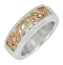 Black Hills Gold on Sterling Silver & 10K Gold Band Ring Size 4 to 10