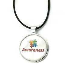 Mama Designs Autisim Awareness Puzzle Piece Dome Necklace in Sterling Silver and