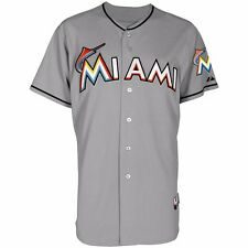 2015 Miami Marlins Authentic On-field Grey Road Cool Base Jersey Men's