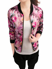 Women Stand Collar Zip Up Floral Prints Bomber Jacket