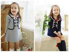 Kids Baby Girls one piece false two  double-breasted dress Girl autumn clothes