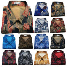 Mens Thai Silk Pattern Shirts Short or Long Sleeve Small to 3XL Paisley Hawaiian