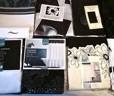 Black/White/Ivory Shower Curtain:Scroll Butterfly Plaid Metallic Greek Key NEW
