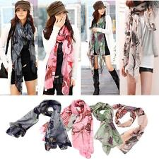 Begonia Color Neck Scarf Long Shawl Flower Ink Style Cotton Wide Wrap New 6UL4