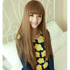 Womens Long Straight  Brown/Black Full Hair Wig Heat Resistant Party Cosplay Wig