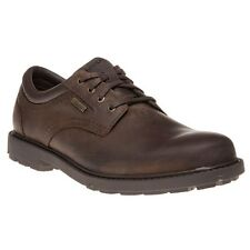New Mens Rockport Brown Wp Plain Toe Leather Shoes Lace Up