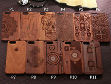 Natural Carved Wood Wooden Hard Case Cover Protect For iPhone5 5S 6 6s 6sPlus