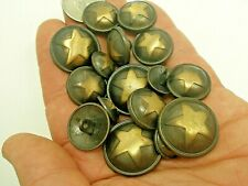 New lots of Military Metal Brass Star Buttons sizes 1 inch, 13/16, 5/8  (#G1)