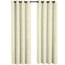 Fiorela Single Jacquard Window Panels, Beige Abstract Floral Grommet Top Curtain