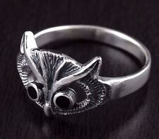 Womens Solid 925 Sterling Silver Vintage Style Filigree Adorned Luck Owl Ring