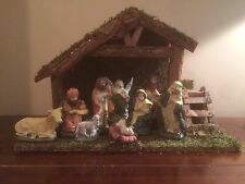 Large 10 Pc Nativity Christmas Set Scene Ornament Stable & Porcelain Figures