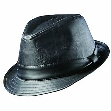 Dorfman Pacific Mens Dress Hat Fedora Faux Micro Leather Black MSRP $68 NWT