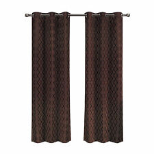 Chocolate Jacquard Blackout Thermal Insulated Window Curtain Panel Willow Pair