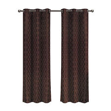 Willow Set of 2 Jacquard Blackout Panels, Chocolate Thermal Insulated Curtains