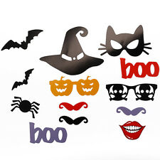 14pcs Halloween Party Photo Booth Props Mask Bat Skull Mustache On A Stick Decor