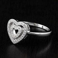 Womens 925 Sterling Silver Micro Pave Cubic Zirconia Two Hearts Ring