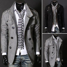 Double-breasted Coat Men Warmer Slim Trench Woolen Coat Jacket Outwear Stylish