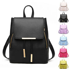 Women's Faux Leather School Bag Travel Backpack Casual Rucksack Retro Satchel