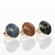 TheMogan Fashion Style Shimmery Faceted Stone Gold-Tone Cocktail Stretch Ring