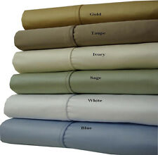 Queen-Size 100% Cotton Sheets, 1200 Thread Count Solid Deep Pocket Bed Sheet Set