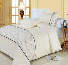 100%Egyptian cotton with 300TC Full/Queen Anna Embroidered Duvet Cover Set(3-PC)