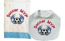 New Handmade Blue Baby Sports Soccer Bib Burp Cloth Set, Set of 2 Burp Cloths